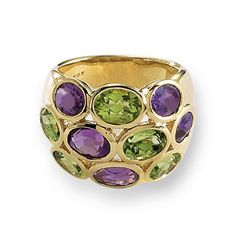amethyst and peridot ring in yellow gold