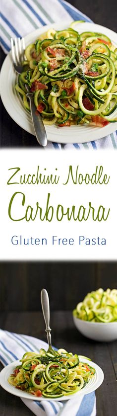 Try my gluten free & low carb Zucchini Noodle Carbonara for dinner tonight!