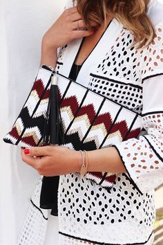 Red Zig Zag Embroidered Clutch Bag at River Island - Trendslove
