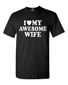 I Heart My Awesome Wife Tshirt Couple Shirts Large Black ** For more information, visit image link. #AnniversaryGift