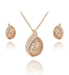 Gold Plated Leaf Earring Necklace - 786shop4you