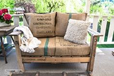#1.  Pallet wood outdoor sofa / 10 genius patio brainstorms from free junk! By Funky Junk Interiors for ebay.com