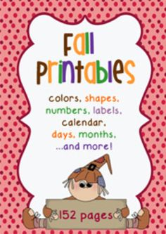 Fabulous Fall Printables!  Transform your classroom with this themed set featuring colors, shapes, numbers, calendar and more!