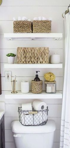 Bathroom Makeover Ideas: Farmhouse Floating Shelves. Gorgeous small bathroom decor! These bathroom organizer storage shelves are an easy DIY project that gives your small bathroom the rustic farmhouse look on a budget