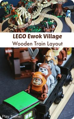 LEGO Ewok Village Wooden Train Layout from Play Trains! What a great idea. Get out the track, add a LEGO set or two and start creating. Train Activities, Activities For Kids, Lego Ewok, Wooden Train, Lego Building, Cool Lego, Lego Creations, Looks Cool, Lego Sets