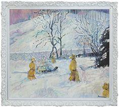 Jan Szancenbach - Pejzaż zimowy z chochołami 1989, olej, płótno, 90 x 100 cm