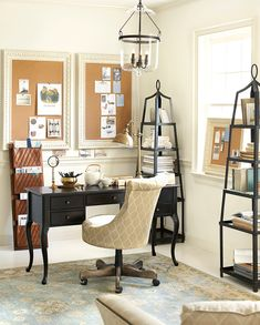 A home office doesn't have to be all utilitarian, it can be pretty too, like this at-home workspace from our Winter catalog