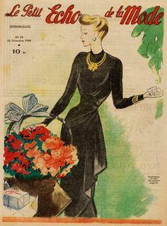 Long Black Dress, 1940s Fashion