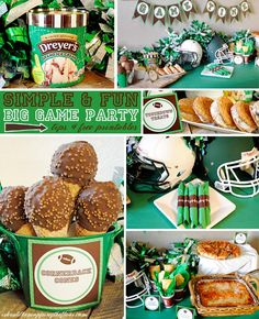 Are you ready for Game Time? These Football Party Ideas and free printables! I would make more homemade food but these are cute ideas!