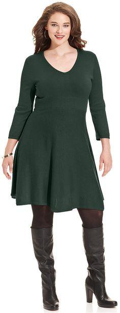 7627e8a3b1e Plus Size A-Line Sweater Dress Green Sweater Dress