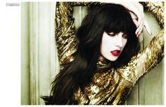 Jacquelyn Jablonski for Vogue Turkey December 2011 by Matt Irwin #gold #fashion #lipstick #hairstyle #bangs