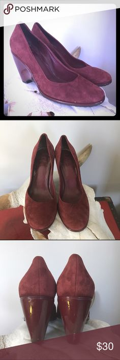 """Cole Haan Burgundy Suede Wedge Nike Air Sole Sz 8 * Cole Haan  * Nike Air for cushion comfort  * Suede and Patent leather  * Scuff on back of left heel  * Overall in great used condition/ Size 8  * Measurement from heel to toe: 9""""  * Heel height 3.5"""" Cole Haan Shoes Wedges"""