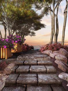 Black slabs of stony steps lead to an outdoor minimalist garden with an amazing overlooking view. Garden Steps, Garden Paths, Garden Landscaping, Flower Garden Images, Minimalist Garden, Path Ideas, Brick And Wood, Astilbe, Flagstone