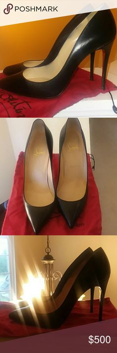 Christian Louboutin Black Leather Pigalle Runs small fits 8 or 8.5.  Sole Protector. Gently Worn.  Bought wrong size Christian Louboutin Shoes Heels