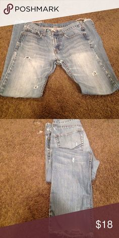 Bull Heads Jeans Distress jeans with hole in the jeans bottom is distress and worn... Bullhead Jeans Straight Leg