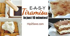 Whip up this Easy 10 Minute Tiramisu No-Bake Dessert! I used 24 lady fingers (soak in coffee 3 seconds), the mascarpone substitute, Kahlua in place of brandy Easy No Bake Desserts, Delicious Desserts, Yummy Food, Desserts Diy, Holiday Desserts, Healthy Desserts, Sweet Recipes, Cake Recipes, Dessert