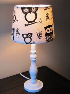 Black and White Hootie Owl  Lamp  OOAK by starlightsbyamber, $65.00