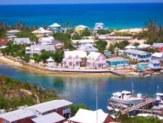 Nice elevated perspective of the charming Hope Town fishing boat channel and residences in the Bahamas.