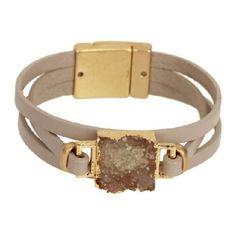 """saachi Jewelry - """"Druzy Girl"""" leather bracelet"""