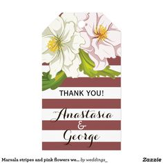 Marsala stripes and pink flowers wedding Thank You Pack Of Gift Tags