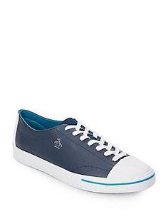 Original Penguin Tobbagan Leather Sneakers - Dress Blue - Size 7