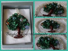 Family Tree Necklace Birthstone Tree Necklace Handwrapped tree of life with Malachite leaves and birthstone beads.