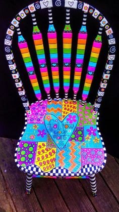 It is one of my hearts desires to fill my house with happy, brightly painted furniture. Here is an ugly kitchen chair makeover that . Whimsical Painted Furniture, Hand Painted Furniture, Funky Furniture, Colorful Furniture, Paint Furniture, Repurposed Furniture, Furniture Projects, Furniture Makeover, Chair Makeover
