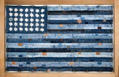 usa flag artwork of blue jeans