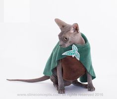 Hobbit Cat Costume Tolkien Pet Costume Costumes for Pets Elvish Costume Leaf Brooch Halloween Costume Gifts for Pet lovers. by SimplySphynx