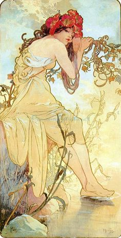 The Four Seasons Summer oil painting by Famous Artist - Alphons Maria Mucha