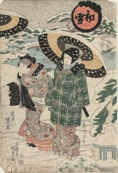 First Snow (Hatsu yuki): Actors Japanese Edo period about 1826 (Bunsei 9) Artist Utagawa Kunisada I (Toyokuni III) (Japanese, 1786–1864)