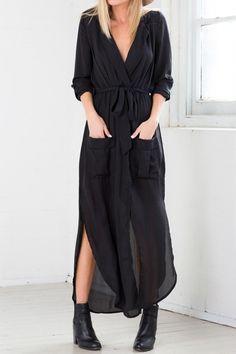 3/4 Sleeves Side Slit Asymmetrical Wrap Dress
