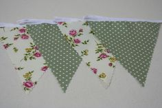 Cream Rose and Green Mini Spot 100% Cotton Bunting Single side 13ft/4m long in Home, Furniture & DIY, Celebrations & Occasions, Party Supplies | eBay