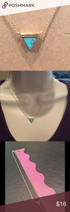 Turquoise and Gold Necklace Great for layering or alone. Brand New in package Jewelry Necklaces