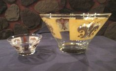 Vintage MidCentury Large Modern Glass Bowl Fleur de Lis Gold Set snack tidbits #Unknown