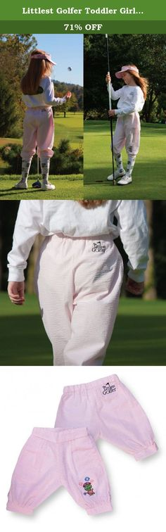 Littlest Golfer Toddler Girls Pink Seersucker Golf Knickers Pants 3T. Every little girl will love these pink golfing knickers from The Littlest Golfer. Classic cotton seersucker golf pants are cut full for extra comfort on and off the greens. The pink and white stripes coordinate with lots of tops and sweaters. The Littlest Golfer makes resort-quality golf apparel for your little golfer that welcomes her to the wonderful world of golf.