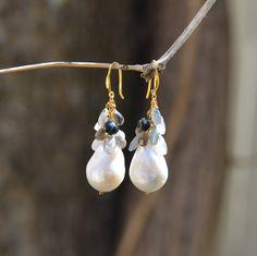 Freshwater Pearl Drop with Semi-Precious Dangling Stones