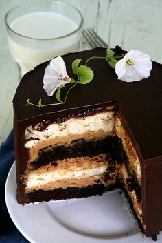 Heaven & Hell Cake: Devil's Food cake between layers of Angel Food cake.