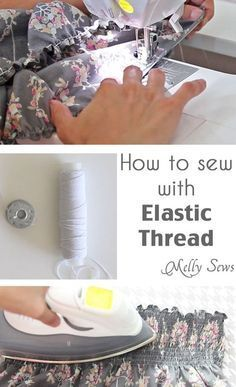 sewing hacks - Sew With Elastic Thread - Best Tips and Tricks for Sewing Patterns, Projects, Machines, Hand Sewn Items Sewing Basics, Sewing Hacks, Sewing Tutorials, Sewing Crafts, Sewing Tips, Sewing Ideas, Tutorial Sewing, Sewing Elastic, Elastic Thread