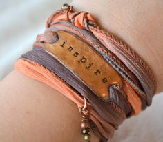 INSPIRE... Boho Silk Wrap Bracelet- Ribbon Bracelet-indie- yoga- wrap on Etsy, $29.00