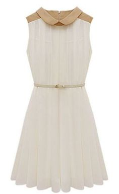 Apricot Sleeveless Belt Pleated Chiffon Dress - Sheinside.com Mobile Site