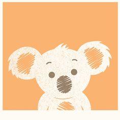 Koala Illustration Orange Background | Photographic Print