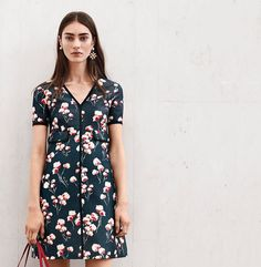 KENZIE DRESS - PETROL GREY FIELD FLOWERS A