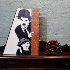 """Items similar to Positive Quote Wood Creation – """" Charlie Chaplin""""Handpainted Wood Cretion -Movie Art- Motivational Gift on Etsy Painted Wooden Signs, Hand Painted, Wooden Signs With Quotes, Bookends, Cinema, Unique Jewelry, Handmade Gifts, Vintage, Etsy"""
