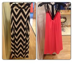 Maxi skirt and cute strapy dress