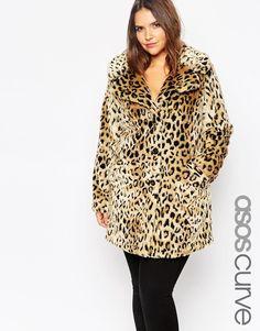 Image 1 ofASOS CURVE Faux Fur Coat in Leopard Print