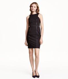 """""""Sleeveless, fitted dress in woven stretch fabric. Narrow-cut at top with satin trim inserts. Visible zip and slit at back. Lined.""""-H&M"""