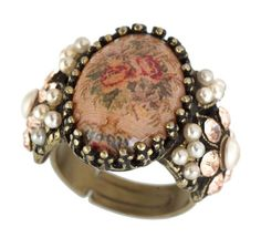 Michal Negrin Adjustable Ring Decorated with Roses Bouquet Print, Vintage Floral Ornament, Faux Pearl and Beige Swarovski Crystals
