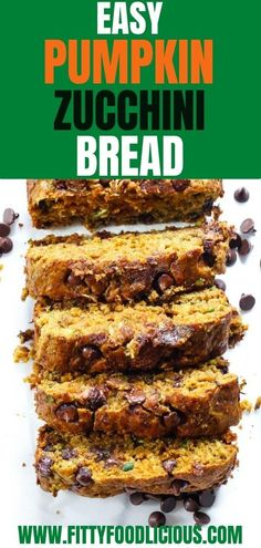 Easy Pumpkin Zucchini Bread is the perfect end of summer recipe because it uses up that zucchini in your fridge and includes pumpkin puree which is perfect to welcome fall! This refined sugar-free Zucchini Bread is so yummy that you'll want to make a few batches of this delicious, healthy bread to store in the freezer. #refinedsugarfree, #EasyPumpkinZucchini Bread #ZucchiniBread #Zucchini #Zucchinirecipes #fallrecipes #pumpkin #pumpkinrecipes #Autumnrecipes #darkchocolate #Pumpkinbread Best Bread Recipe, Quick Bread Recipes, Baking Recipes, Healthy Recipes, Delicious Recipes, Muffin Recipes, Healthy Baking, Healthy Food, Sugar Free Zucchini Bread