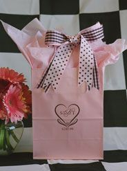 This #welcomebag can be used for many different events. With just a monogram, it could be for a Bat Mitzvah, graduation, quincenera or a wedding. The date is optional. The monogram is part of our Classic Collection called the Rome. The #welcomegiftbag is filled with carnation #pinktissuepaper and 2 companion #ribbons of polka dots and gingham. www.FavorsYouKeep.com. Need a RUSH order? Call 512.323.0600 today! #personalizedguestgiftbags